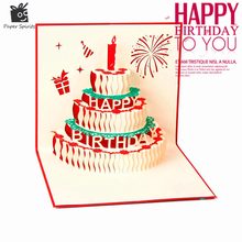 3D Handmade Custom Birthday Invitations Cards Wishes Messages Greeting Gift Cards Postcards Vintage Laser Cut Pop Up Cake(China)