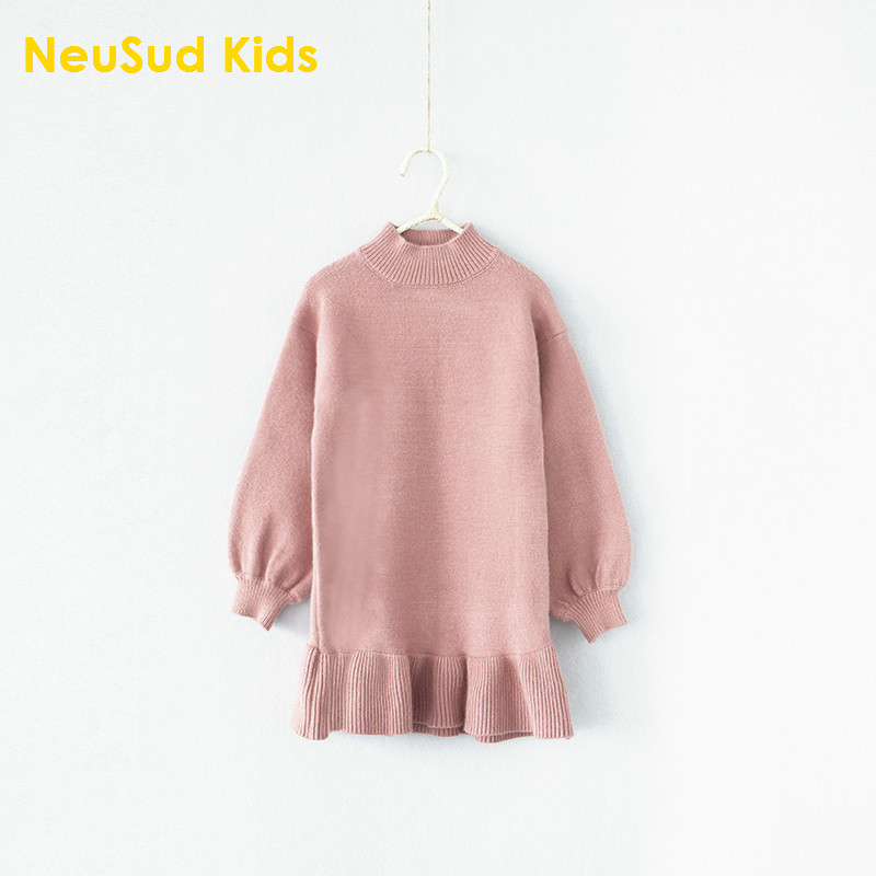 New 2017 Baby Girls' Sweaters Dress Kids Long Sleeve Dress Toddler Girls Chidlren Autumn Dress Soft and Comfortable,2-8Y,#2182 sleeveless 2017 new autumn fall winter girls princess dress brand vest dress solid cute children dress chidlren clothing 2 8y