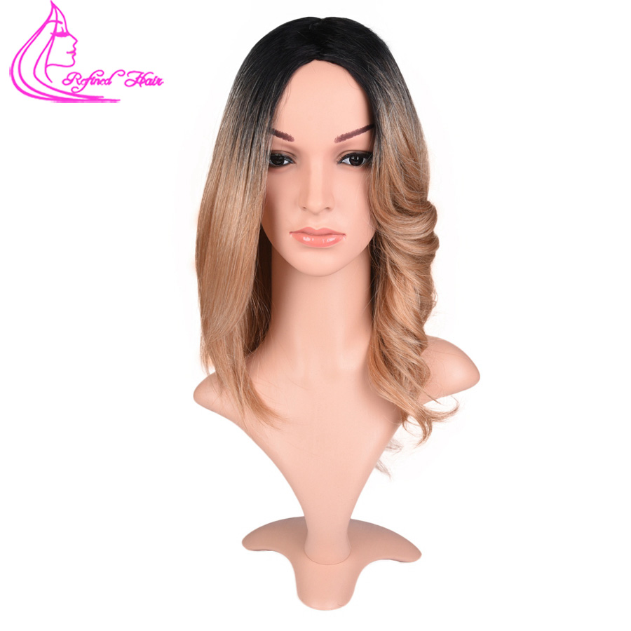 Refined Hair 14inch Short Straight Bob wig Heat Resistant High Temperature Ombre Brown Synthetic Bob wig Natural As Real Hair