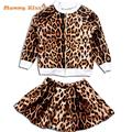 2-8Y Baby Girls Clothes Punk Leopard Print Kids Jackets+Skirt Suit Toddler Girl Clothing Fashion Girls Clothes C50