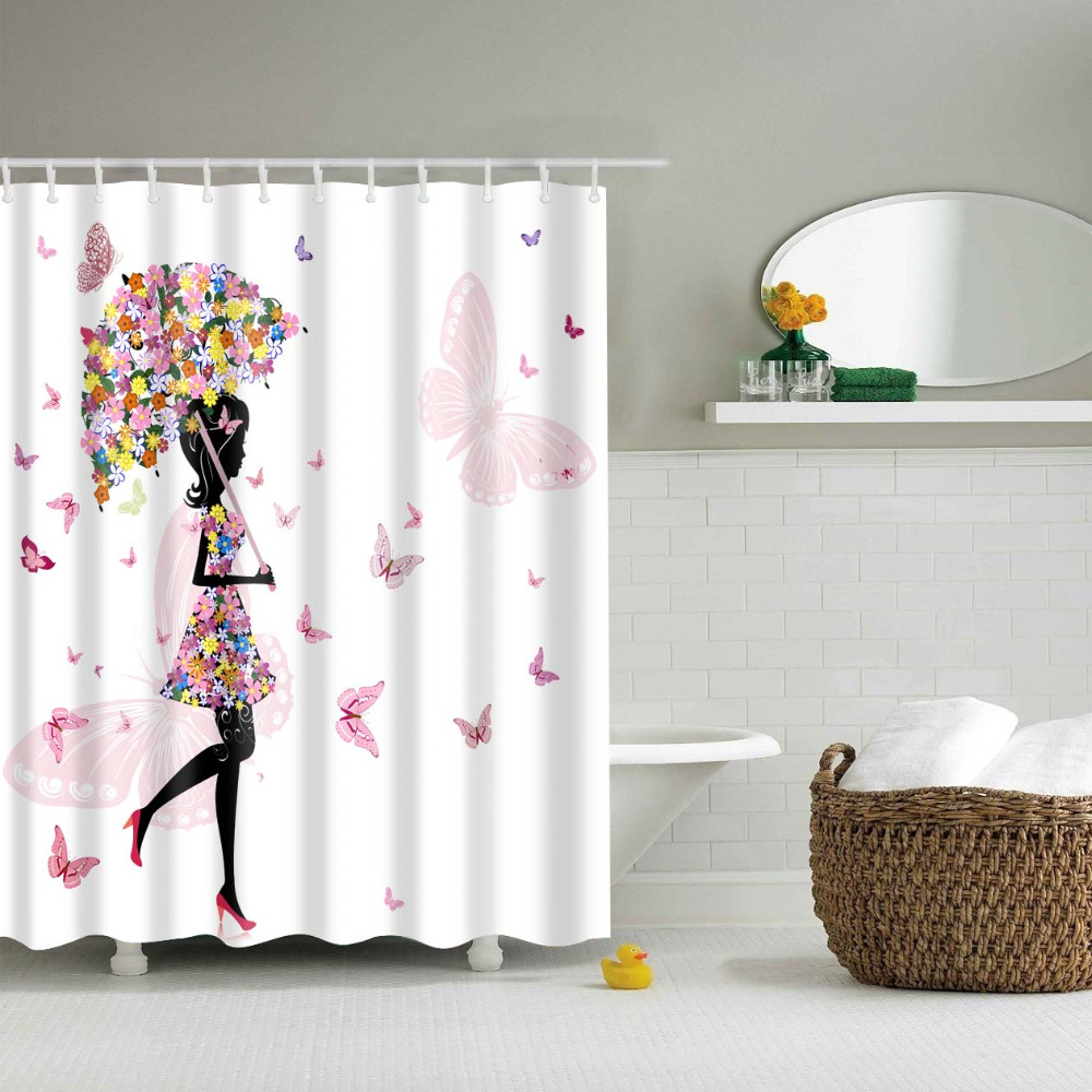 Shower curtains for girls - Papa Mima Floral Umbrella Girl Waterproof Shower Curtains Polyester Bathroom Curtains With Hooks For 180x180cm Decorative