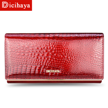 Купить с кэшбэком Genuine Leather Women Wallets Multifunction Purse With Card Holder Long Women Wallet Clutch Bag Ladies Patent Leather Wallets