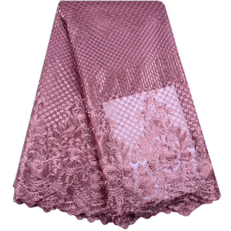 Onion Color French Lace Fabrics 2019 African Lace Fabric Embroidery Nigerian Lace Fabric High Quality Lace For Wedding Y1518-in Lace from Home & Garden    1