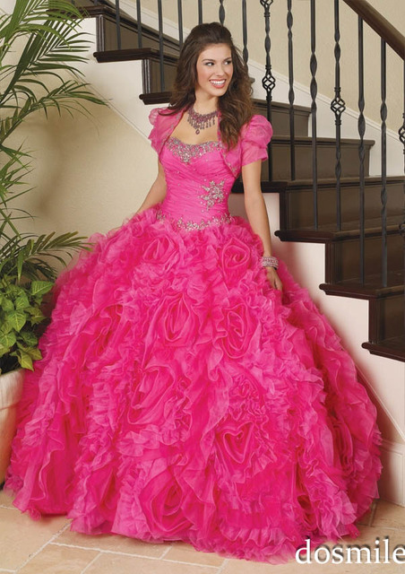 5ade1f41af6 2017 Sparkling Elegant Crystal Beaded Ruffled Puffy hot pink Ball Gowns  girls  Pageant Quinceanera Dresses New sweet 16 dress