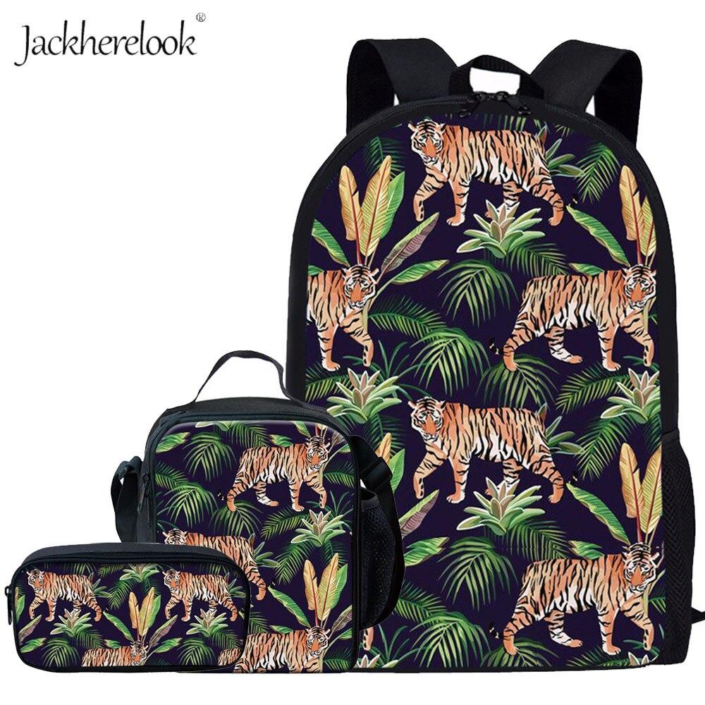 Jackherelook Cool Jungle Tiger Backpack Kids School Bags For Boys Student Shoulder Bag 3Pcs/Set Schoolbag Girls Children Bagpack