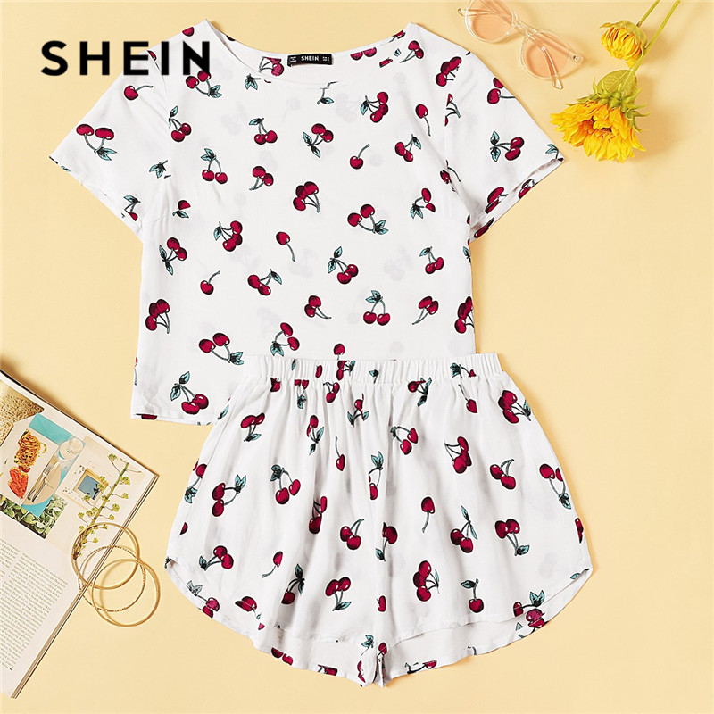 SHEIN Cherry Print White Top And Summer Shorts Pajamas Set Women 2019 Casual Short Sleeve Round Neck Sleepwear Sleep Set Pj Set(China)