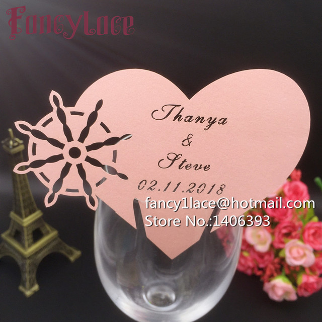 50x Wedding Place Cards For Wine Glass Love Heart Wedding