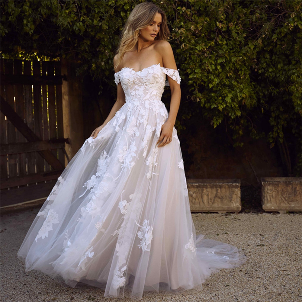 Romantic Off The Shoulder A Line Soft Tulle Wedding Dresses Bohemian Lace Appliqued Sexy Back Bridal Gowns