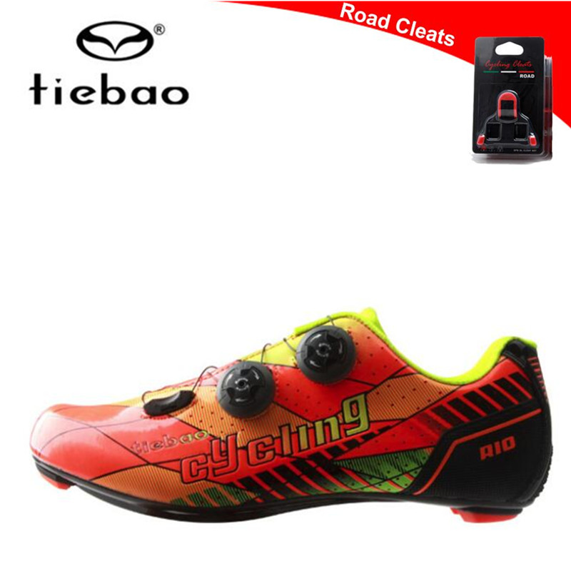 TIEBAO Carbon fiber road Bike Shoes Auto-lock Ultralight Cycling Shoes zapatillas deportivas mujer Athletic Riding Shoes men