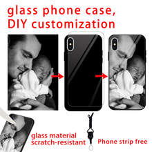 DIY For iphone X 10 7Plus 6s 6 capa cover Customized Tempered Glass Phone Case iPhone 7 XSMAX XR 5 5s 8plus back shell