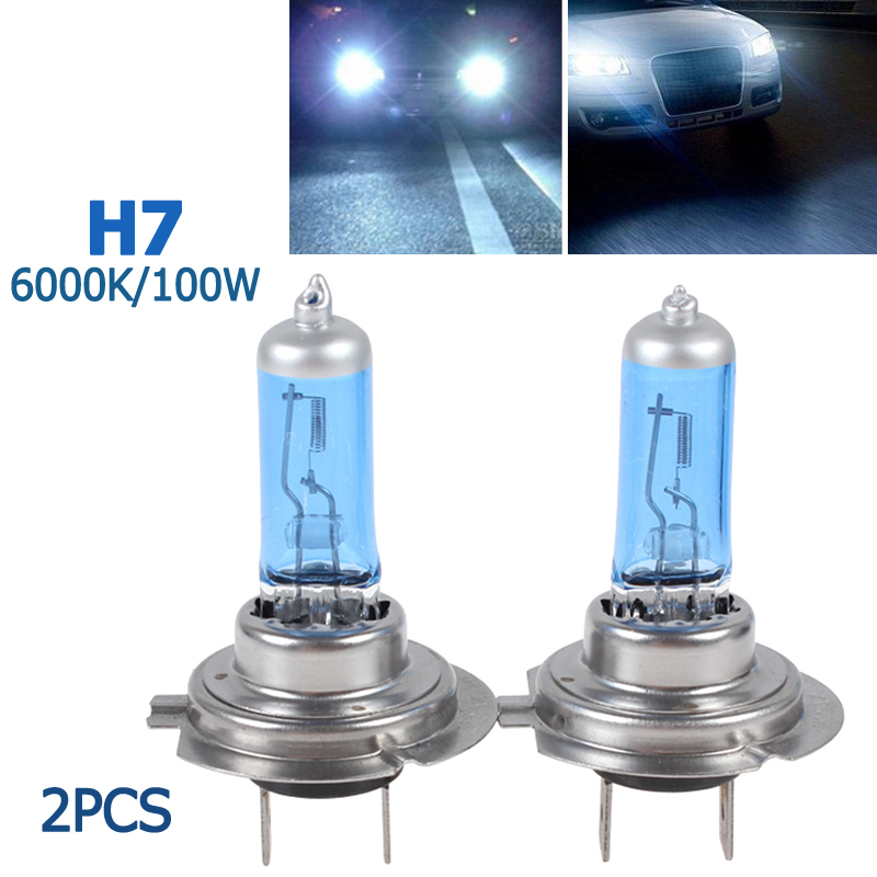 2pcs! H7 100W Super White 6000K Car Headlight Headlamp HOD Xenon Gas Halogen Lamp Vehicle Car Head Light Bulb 2 pcs h7 6000k xenon halogen headlight head light lamp bulbs 55w x2 car lights xenon h7 bulb 100w for audi for bmw for toyota