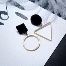 Punk Fashion Triangle Round Geometric Asymmetric Black Earrings Women Party Jewelry pendientes brincos E130