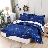 Children's Fitted Sheets Kids Bedding Outer Space Bed Linen Blue Printed Bedspread For Girls Boys Simple Style