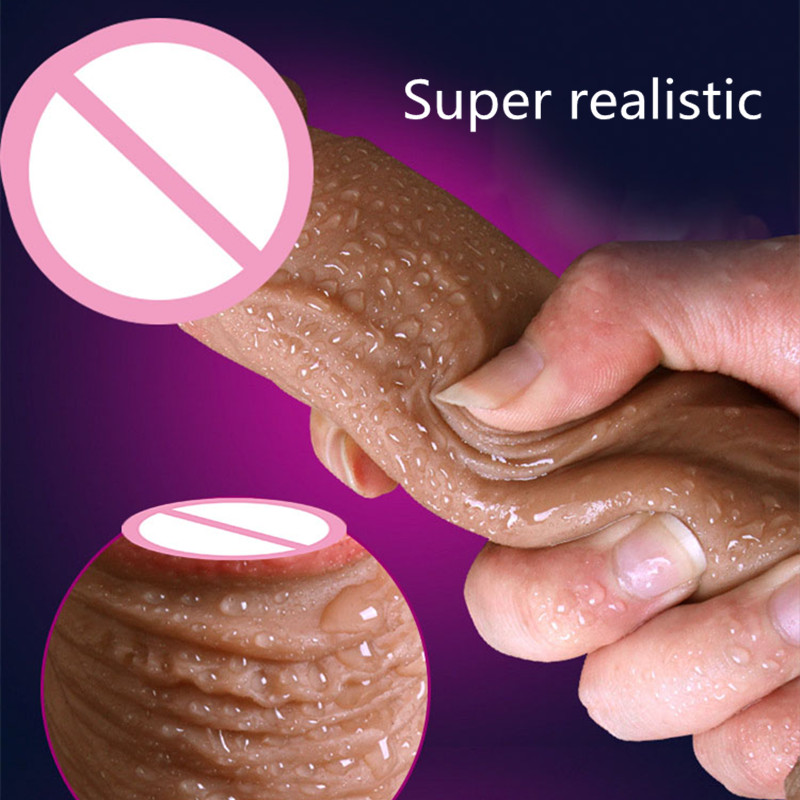 Super Skin Realistic Penis Big Huge font b Dildo b font With Suction Cup Rubber Penis