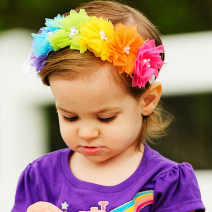 1PC Girls Mesh Flowers headband Colorful Flower with pearl Stone Rainbow  colors Children Hairband Newborn Baby hair accessoires cd2aca3b39d