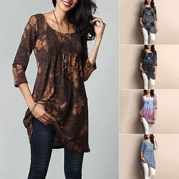 9b9f0fd0422 Women's Loose Long Sleeve Cotton Casual Blouse Shirt Tunic Tops ...