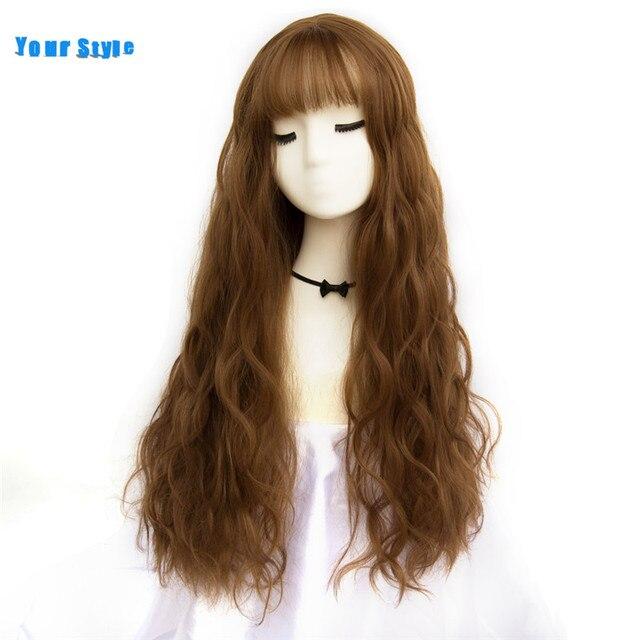 Ваш стиль 42 Цвета Синтетические длинные волнистые афро парики из натуральных волос с челкой для черных женщин коричневый серый