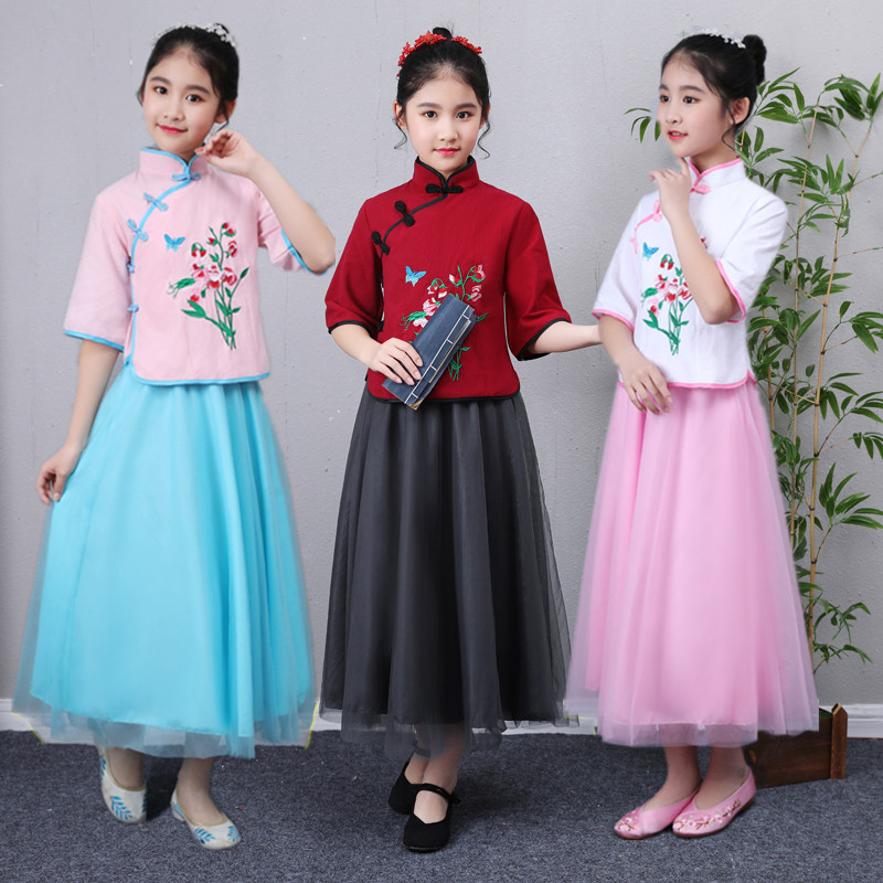 Toddler girl slim temperament hanfu chinese style 2 piece flax dress youth clothes chorus girl costume school student uniform
