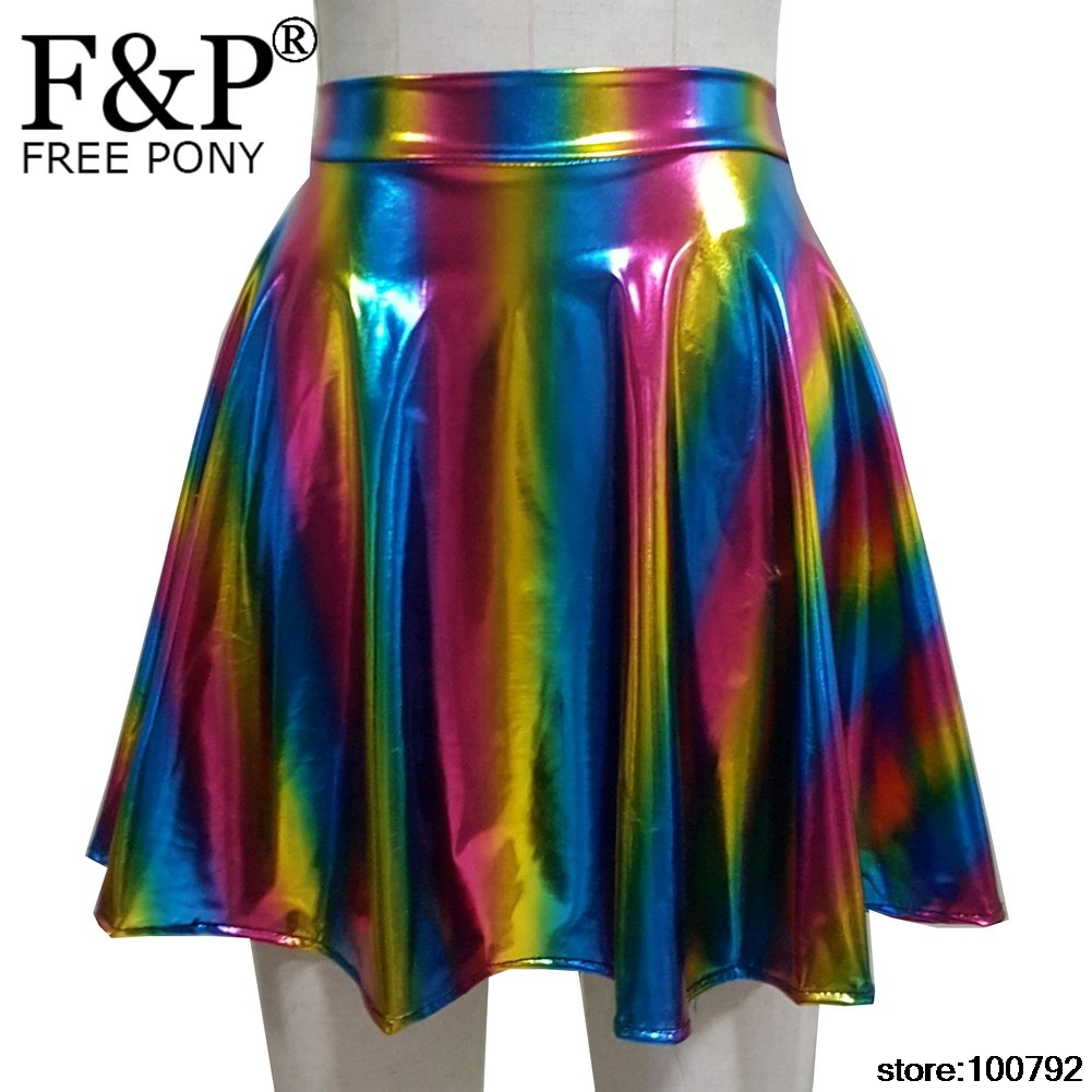 7e06baf5f43a Unicorn Costumes Silver Holographic Women Skirt Festival Clothes Outfits  Hologram Foil Fabric Skater Skirt Circle Cute Skirt-in Skirts from Women's  Clothing ...