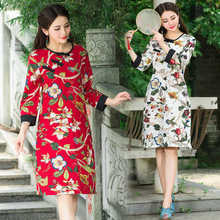 Chinese Traditional Dress 2017 Spring Women Dress Wine Red Cheongsam Linen Qipao Autumn Dress Slim Robe