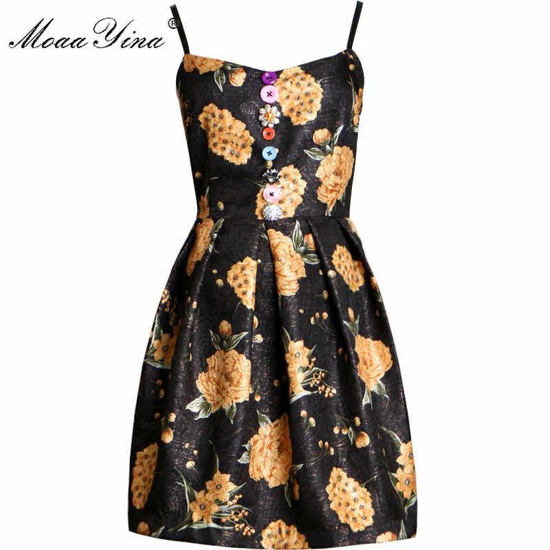 MoaaYina взлетно-посадочной полосы летнее платье конструкций Для женщин Сексуальная спинки маленькие черные платья Цветочный принт мини короткое платье; женщина качели Vestido