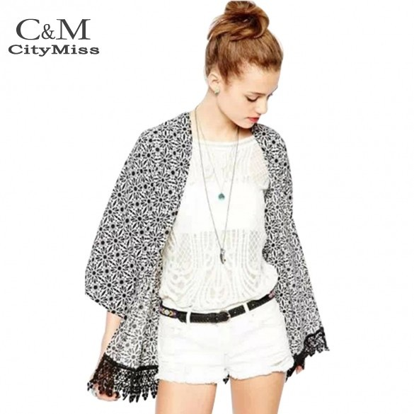Preço de fábrica 2014 moda Vintage flor impressão Chiffon blusa Loose Women Chiffon Kimono Cardigan # 3 SV005702