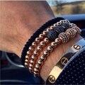 Hombres pulseras de macramé, 24 k oro plateado micro pave cz negro 6mm ronda del grano trenzado de macramé brazalete pulseira feminina