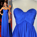 Royal Blue Chiffon Pleated Sweetheart Long Formal Celebrity Dresses 2015 Women Red Carpet Dress Party Gown robe de celebrite