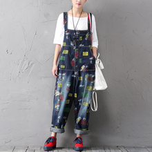 2017 Pattern Painted Ripped Denim Jumpsuits Women Loose Wide Leg Jeans Overalls