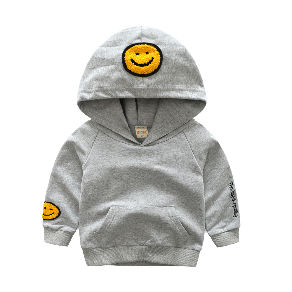Baby Boys Sweatshirts Coat Cute Cartoon Smiling Face Kids Hoodies Casual Long Sleeve Cotton Children Pullover Outwear Clothing