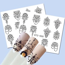1 Sheets  Watermark Sexy Nail Art Black Flower Chain Pendant Pattern for Women DIY Charm Wraps Nail Art Sticker TRSTZ500