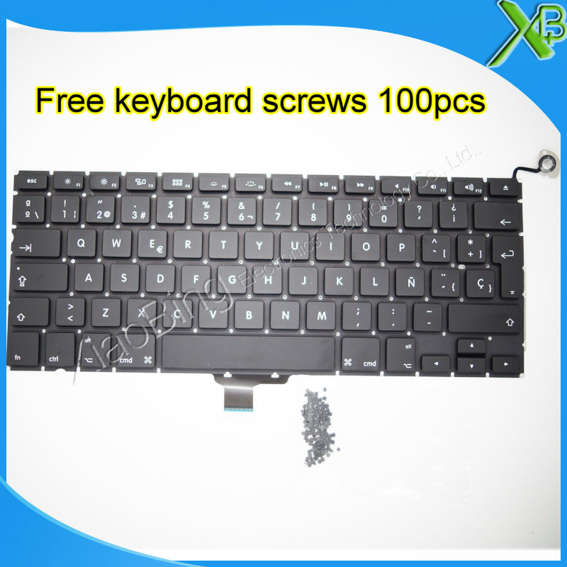 Brand New SP Spanish Keyboard+100pcs Keyboard Screws For MacBook Pro 13.3
