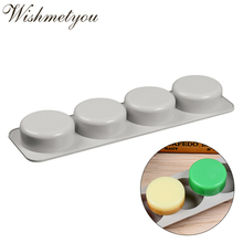WISHMETYOU Silicone Soap Mold 3D Oval Round Four Holes Handmade Making DIY Cake Chocolate Molds