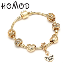 HOMOD Gold Color Love Heart Charm Personalized Brand Bracelets & Bangles For Women Trendy Jewelry Handmade DIY Bracelet