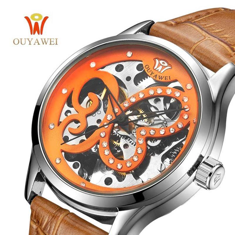 Prix pour 2017 Relogio Feminino Femmes Skeletion Automatique Mécanique Heure Montre En Cuir Montre-Bracelet Reloj Mujer Boîtier Rond Temps Horloge Lady