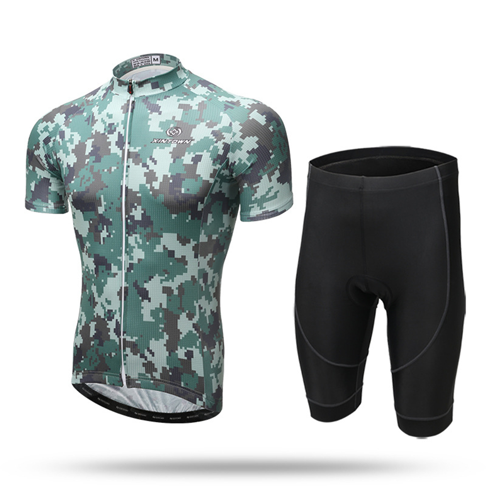 XINTOWN Jungle Camouflage Camo Men s Cycling Bike Bicycle Jersey 3D Padded  Shorts Set Outfit Cycling Jersey Short Set 49e57931c