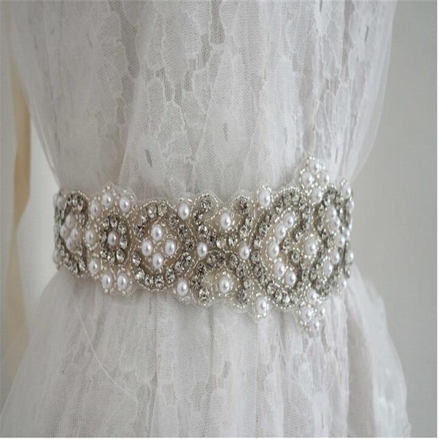 New Arrival Elegant Rhinestone Vintage Crystal Wedding Party Bride Bridesmaid Belt Dress Flower Sash Accessories Beaded Silk