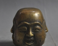 chinese buddhism bronze 4 Different Emotions face Maitreya Buddha head statue