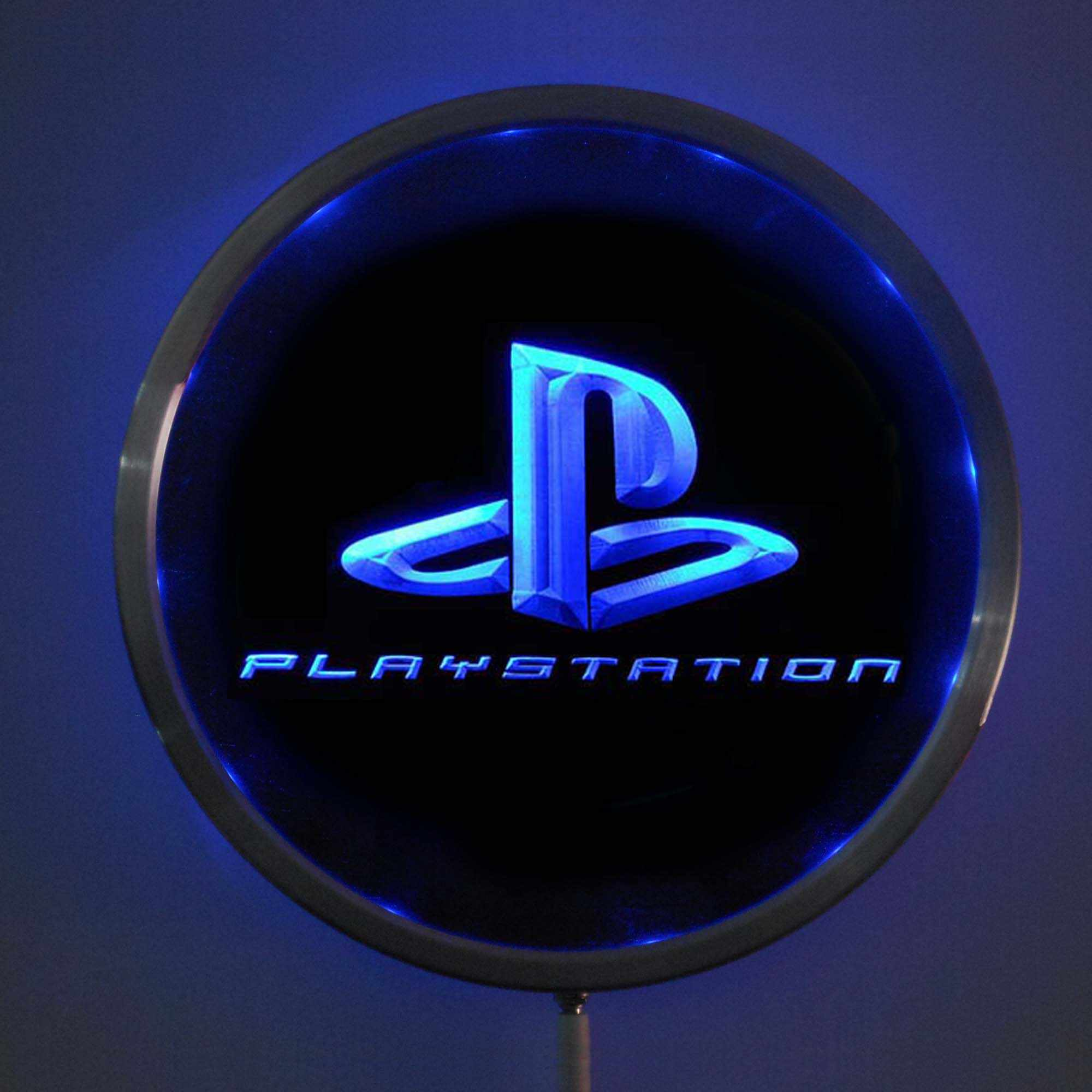 rs-e0175 PS Playstation Game LED Neon Light Round Signss 25cm/ 10 Inch - Bar Signs with RGB Multi-Color Remote Wireless Control