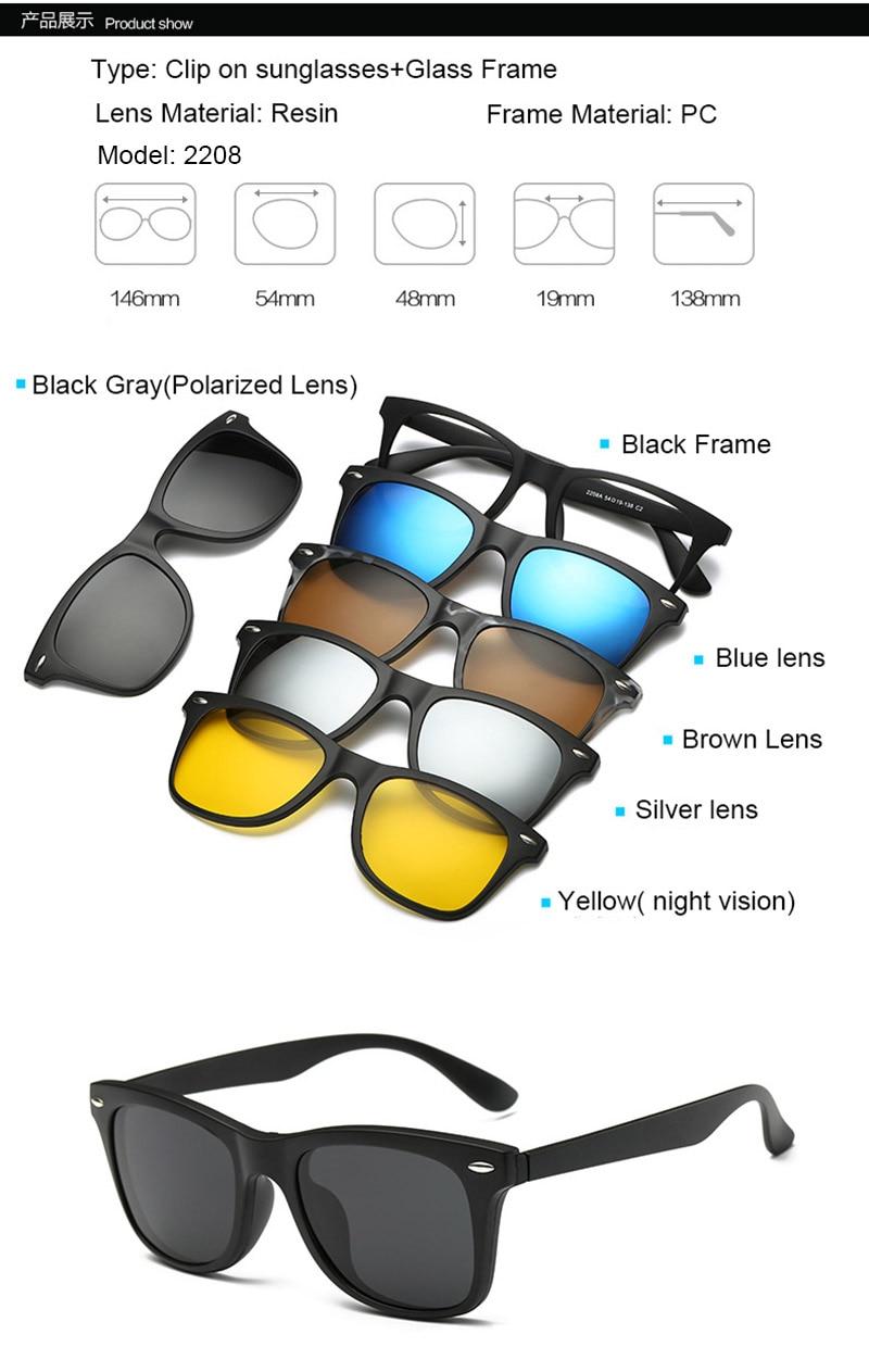 fcabae6af2 1 black frame (with demo glasses) +1pcs polarized lens+3pcs UV400 lens+1pcs  night vision lens