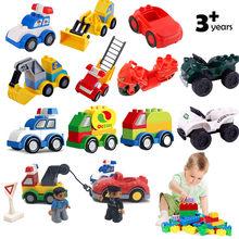 Única venda acessórios tráfego carro blocos de construção tamanho grande tijolos polícia compatível com duploed peças crianças brinquedos presente natal