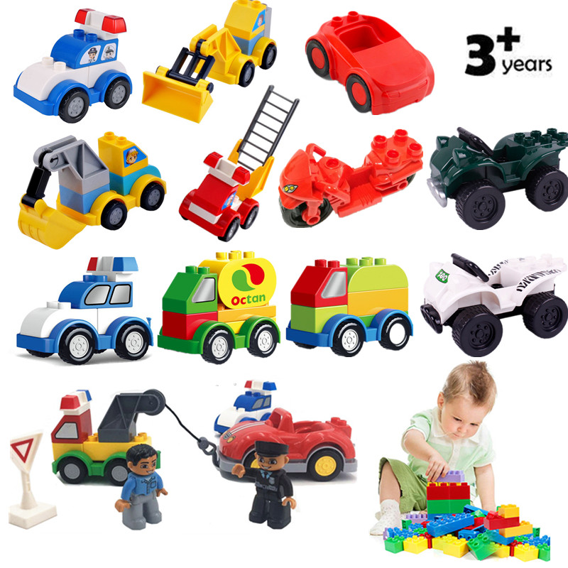 Single Sale Accessories Traffic Cars Accident Blocks Big Size Bricks Police Compatible With L Brand Duploed Parts Kids Toys