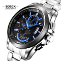 BOSCK Business Top Brand Watch Men Stainless Steel Watch Waterproof Military Quartz Watches Auto Date Wristwatch Montre Homme