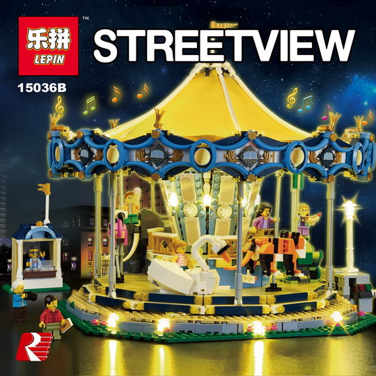 IN STOCK LEPIN 15013 3263PCS 15036 2705 PCS 15036B with light City Street Carousel Model Building Kits Block Toy for 10196 10257 lepin 15013 city street carousel model building kits assembling blocks toy legoing 10196 educational merry go round gifts