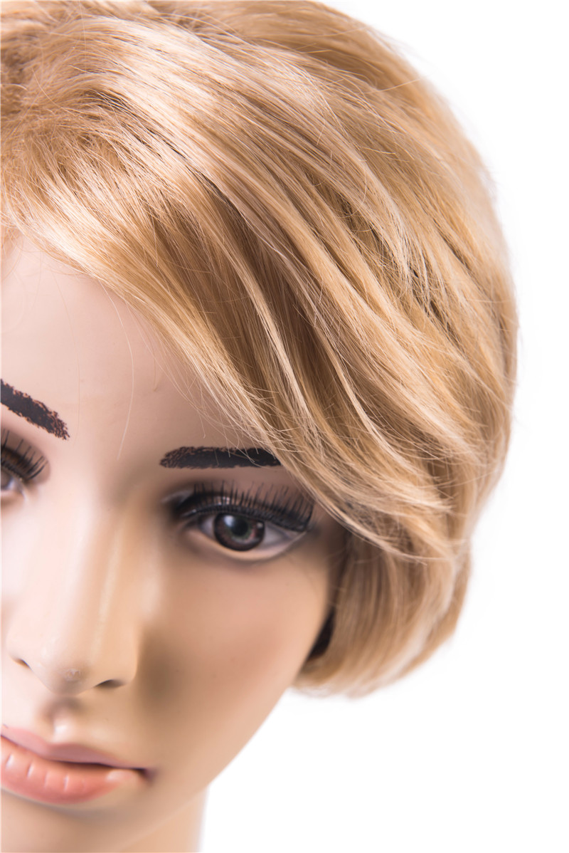 Soloowigs Natural Straight Blonde High Temperature Fiber Short Full Lace Wigs for the White Woman