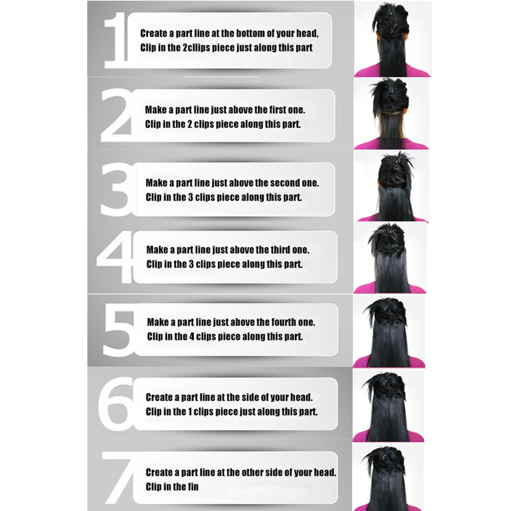 qjz13055 27 2p Xi rocks Synthetic Clip in Hair Extensions wig Straight Hairpiece Clips for the Hair Extension wigs Chocolate in Synthetic Clip in Extensions from Hair Extensions Wigs