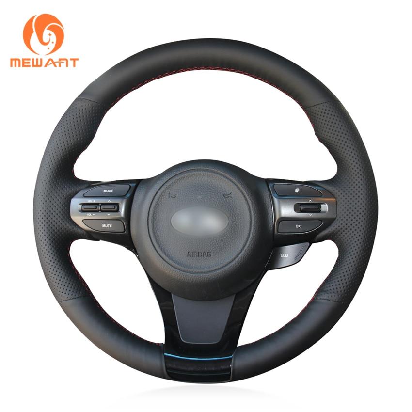 MEWANT Black Artificial Leather Car Steering Wheel Cover for Kia K5 Optima 2014 2015 kalaite car led drl for kia optima k5 2013 2014 2015 daytime running lights for kia optima k5 fog head lamp cover car styling