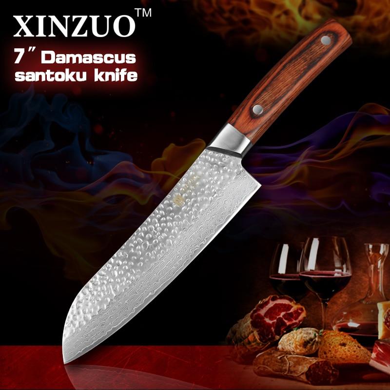 XINZUO 7 inches santoku knife Japanese VG10 Damascus kitchen chef knife Japanese chef knife wood handle