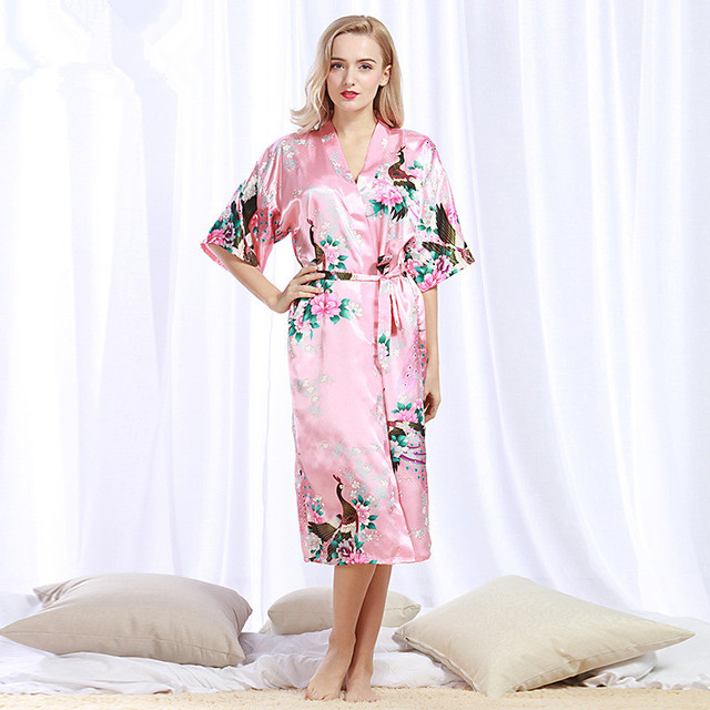 luxury Silk peacock Dressing Gown for women summer Pajamas bathrobes Kimono  Satin Home Robe Nightdress Femme S-3XL 0a946fe97