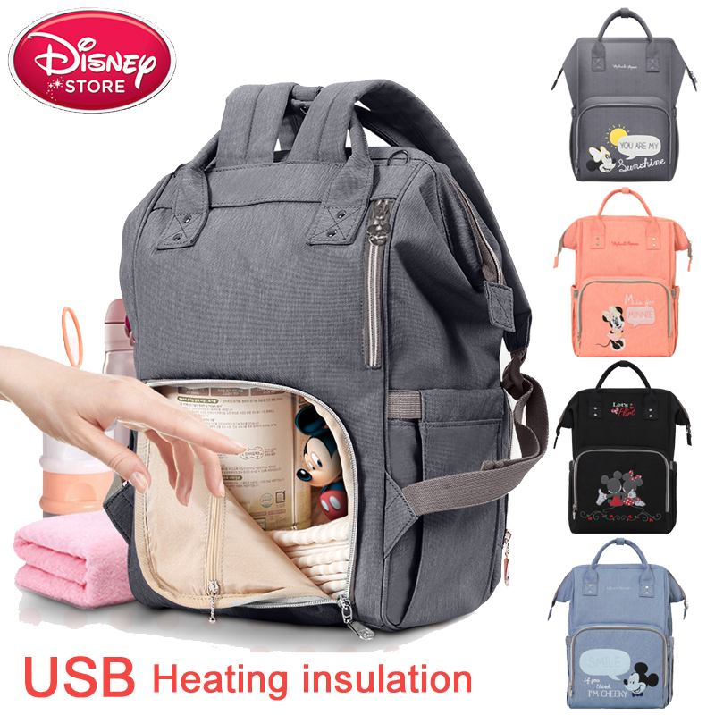 Disney Mummy Diaper Bag USB Bottle Insulation Disney Minnie Mickey Baby Bag Thermal Capacity Travel Baby Care Backpack Handbag